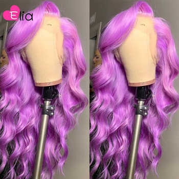 Elia Colorful Ombre 613 Red Purple Blue Lace Frontal Wig Party Wigs 13x5 Body Wave Lace Front Wig Remy Peruvian Human Hair image