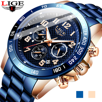 Men Watches LIGE Top Brand Luxury Stainless Steel Blue Waterproof Quartz Watch Men Fashion Chronograph Male Sport Military Watch цена 2017