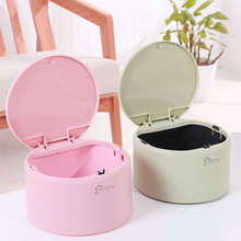 Desktop creative Mini trash can desk pressing circular with cover receptacle car