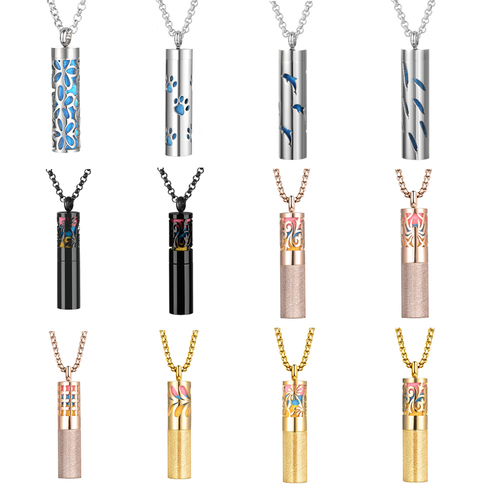 Chain Necklace Stainless Steel Oil Diffuser Locket Couple Pendant Necklace Perfume Bottle Silver Jewelry with 5pcs Felt Pads