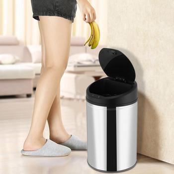 50L Smart Induction Trash Can Sensor Dustbin Stainless Steel Automatic Sensor Dustbin Rubbish Waste Bin Trash Can