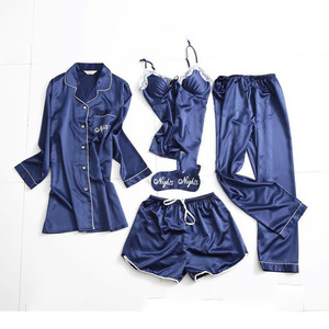 Image 2 - Spring Summer Women Long Sleeve Print Pajamas Sets with Pants Sexy Spaghetti Strap Pijama 5 Pieces Homewear with Chest Pads