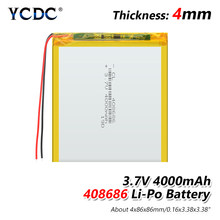 Batterie Li-ion polymère pour haut-parleurs MP3, 4000 mah, 3.7 V, 408686, pour maison intelligente, pour batterie d'alimentation, haut-parleur dvr,GPS,mp3,mp4,DVD