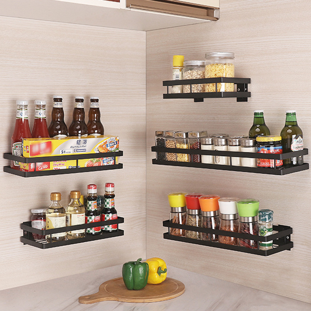Wall Mounted Kitchen Organizer And Wall Storage Shelf For Spice Jars With Raised Fence 1