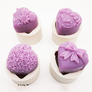 3D Silicone Soap Mold Heart Love Rose Flower Chocolate Mould Candle Polymer Clay Molds Crafts DIY Forms For Soap Base Tool K388(China)