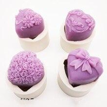 3Dシリコーン石鹸金型ハートラブローズ花チョコレート型キャンドルモールド金型工芸品diyのための石鹸ベースツールK388