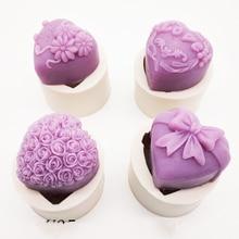 3D סיליקון סבון עובש לב אהבת רוז פרח שוקולד עובש נר פולימר חימר תבניות מלאכות DIY טפסי סבון בסיס כלי K388