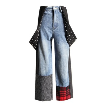 XAXZXY 2020 summer new heavy industry beaded contrast stitching wild nine-point wide-leg patchwork plaid pants women jeans contrast tape side plaid pants