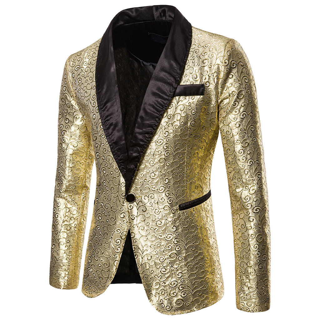 SHUJIN Shiny Gold <font><b>Sequin</b></font> Glitter <font><b>Blazer</b></font> <font><b>Men</b></font> <font><b>Jacket</b></font> DJ Host Single Button Suit <font><b>Mens</b></font> <font><b>Blazer</b></font> <font><b>Jacket</b></font> Prom Stage Wedding Costumes image
