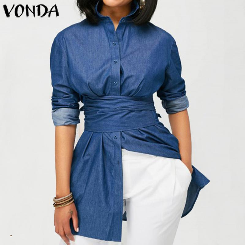 Denim Blouse Tunic Women Long Sleeve Blouse VONDA 2020 Autumn Long Tops Casual Lapel Button Up Shirts Blusa Femininas Plus Size