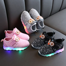 H018 Children Toddler Infant Kids Baby Girls Boys Mesh LED Light Luminous Sport Shoes Sneakers Fashion Little Kid