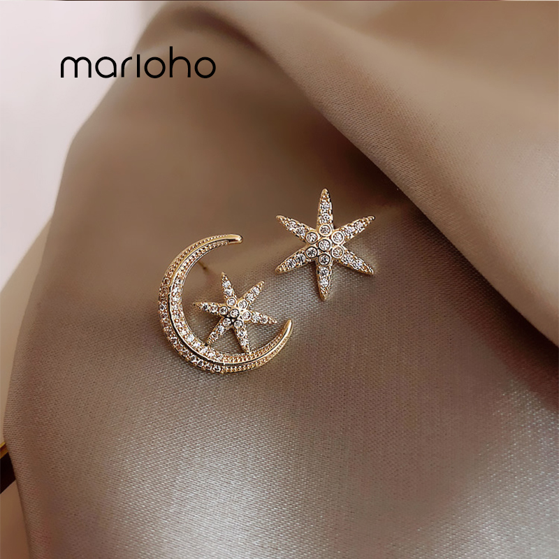 Asymmetric Hollow Out Moon Star Stud Earrings Geometric Rhinestone Earrings Prevent Allergy Women Jewelry