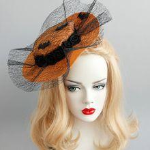 Women Fascinator Party Black Flower Bat Hairclip Top Hat Net Veil Hairband Decor