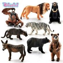 New Bear Donkey Chimpanzee Lion Tiger Leopard Simulation animal model action figure Educational Gift Kids toys for children цена 2017
