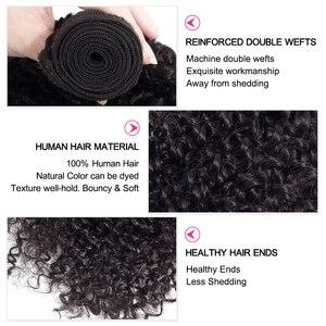 Image 4 - Extensiones de cabello humano malayo, mechones rizados, Color Natural, tejido de pelo rizado, envío gratis