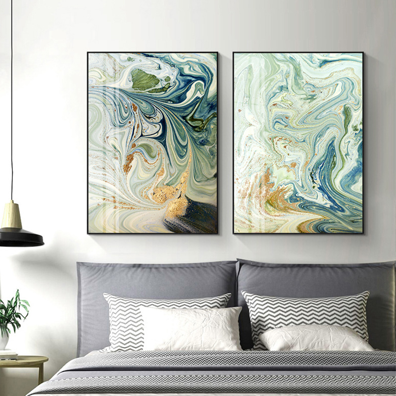 Nordic Modern Creative Abstract Green Gold Foil Art Canvas Poster Abstract Painting Print Wall Picture For Living Room Decor