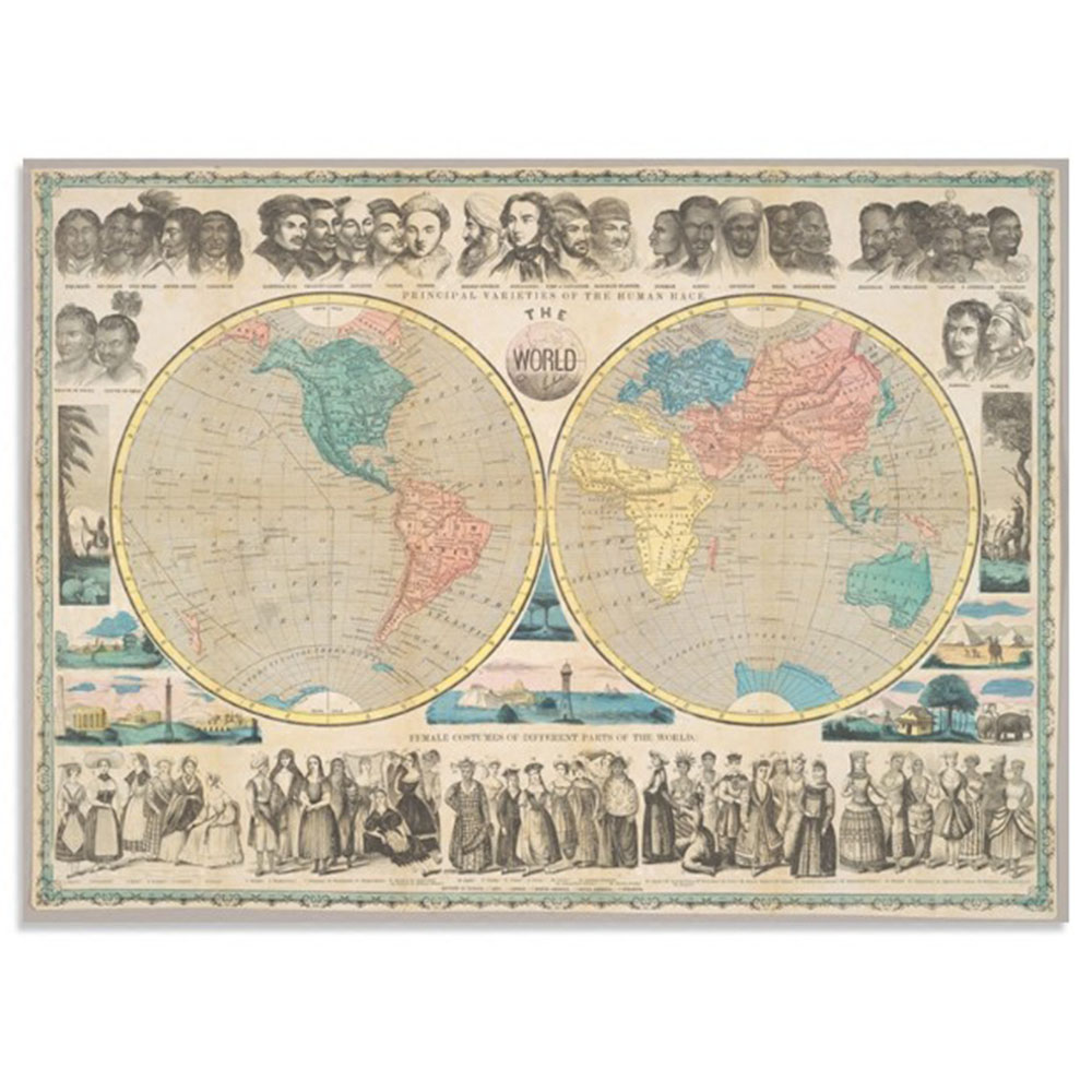 1 Pcs 80x58cm Retro Nostalgic World Map Decorative Painting Living Room Bedroom Study Mural Painting Canvas