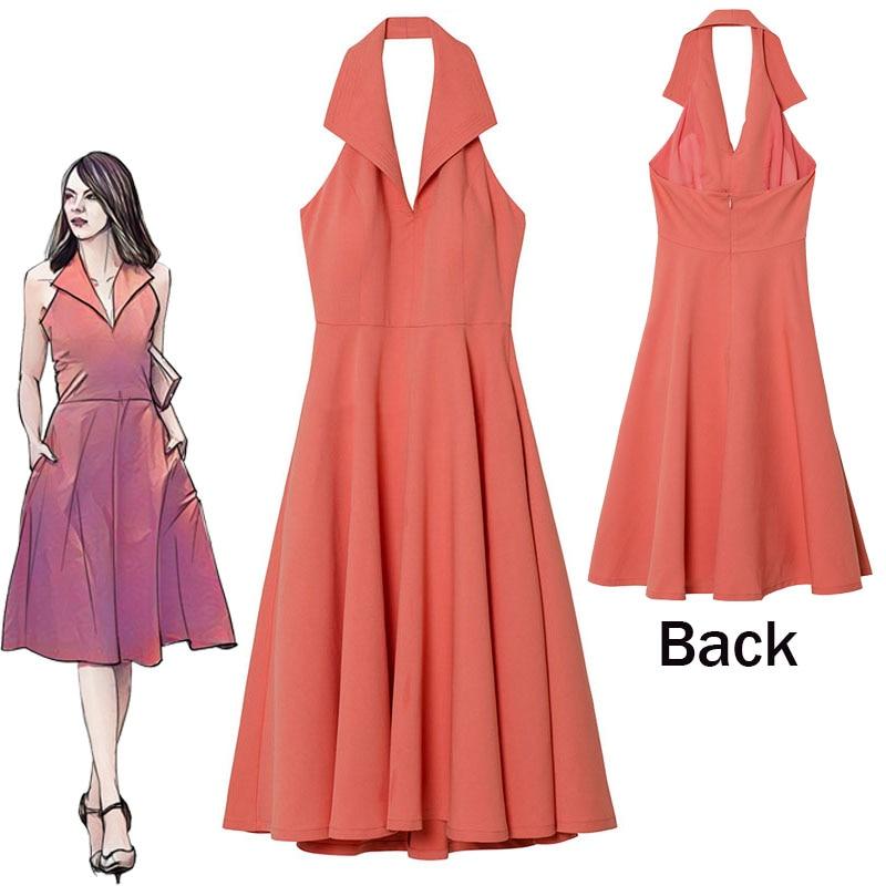 Moive La land Mia vestido rosa Cosplay disfraz Emma Stone fiesta vestidos de noche espalda descubierta mujer vestido Halloween fiesta de navidad
