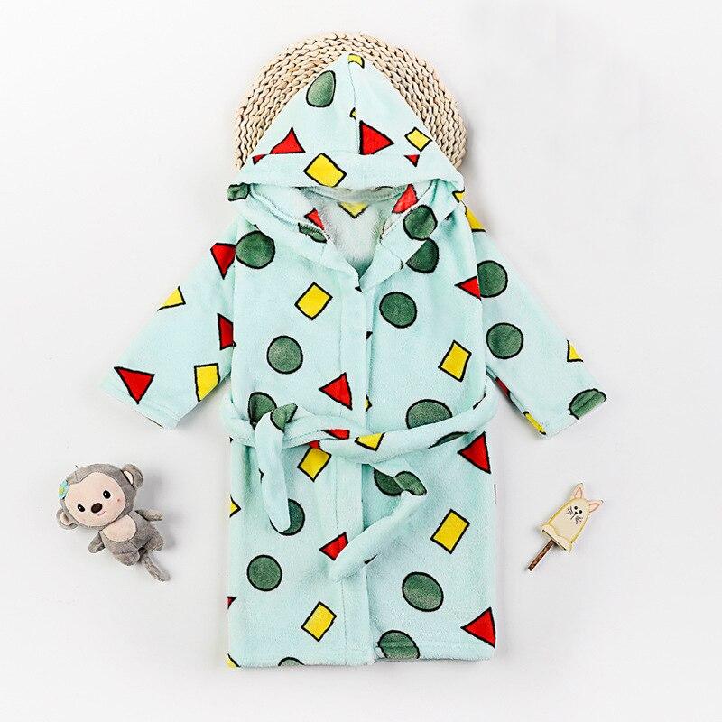 WeLaken/халат с геометрическим принтом для малышей; балахон с капюшоном и длинными рукавами; мягкая хлопковая одежда; детская зимняя одежда для сна; халаты - Цвет: Зеленый