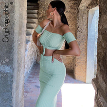 Cryptographic Two Piece Sets For Women 2019 Sexy Backless Slash Neck Ruched Crop Tops Fashion Side Slit Solid Long Dress Female