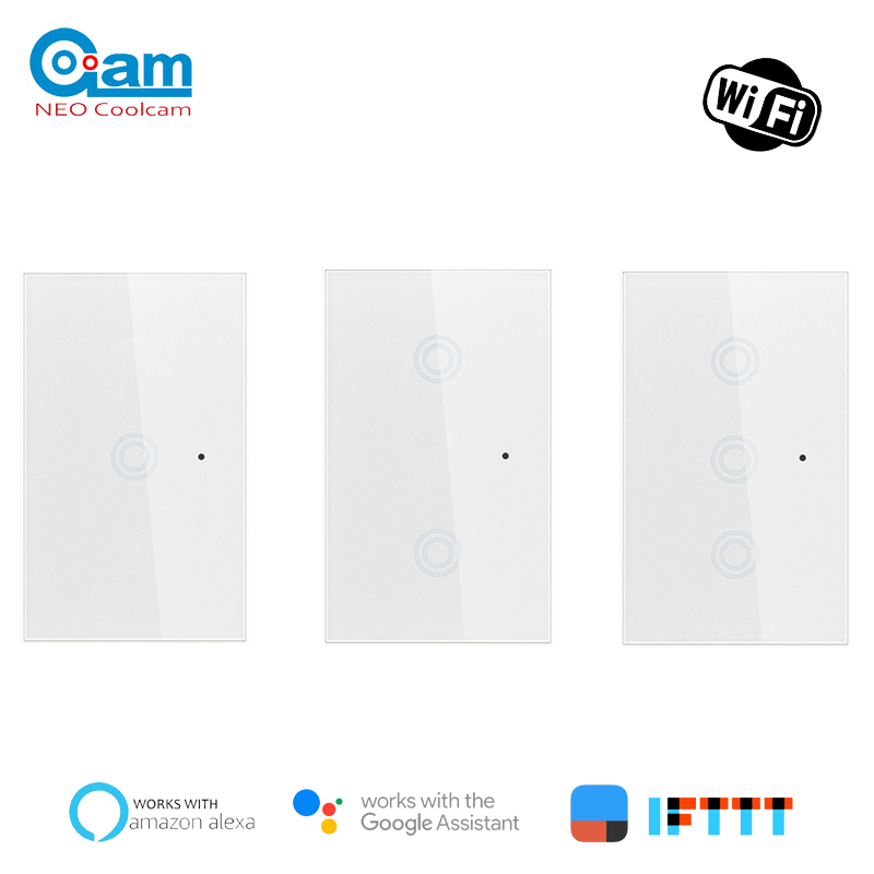 NEO COOLCAM Wifi Smart Light Switch Glass Screen Touch Panel Voice Control Wireless Wall Switch Work With Alexa Echo Google Home
