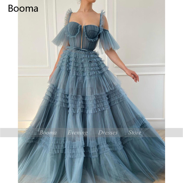 Booma Blue Long Prom Dresses Sweetheart Crumpled Tulle Ruffles Evening Dresses Off Shoulder Tiered A-Line Party Dresses Bow Belt 5