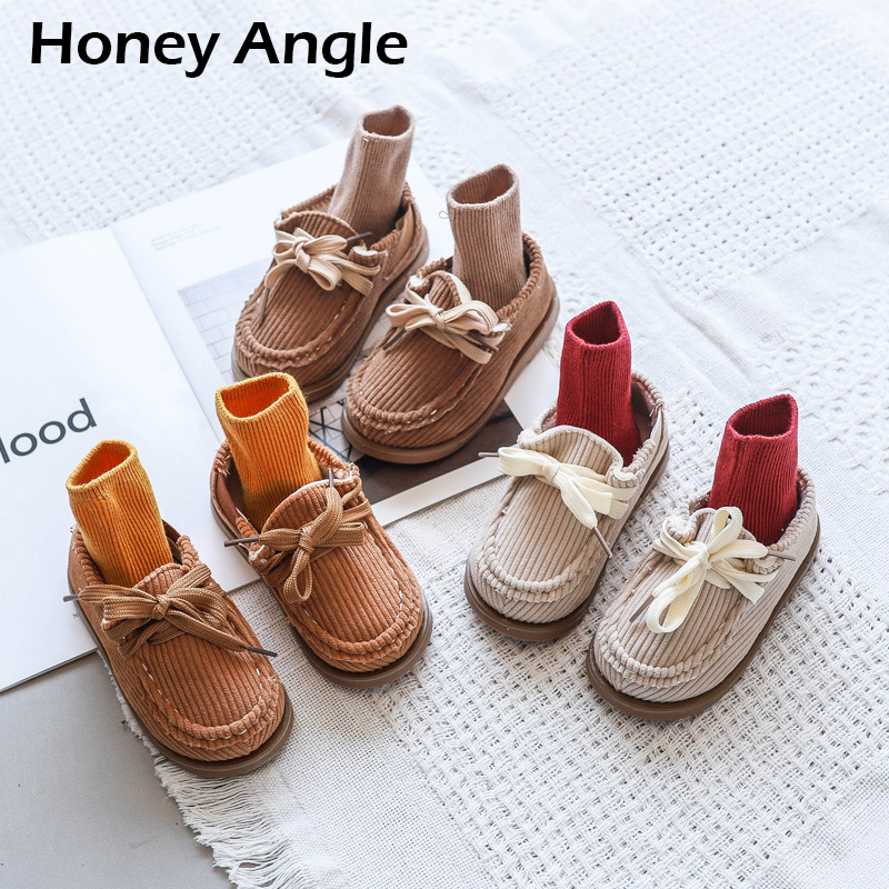 Honey Angle Autumn Winter Children Shoes For Girls Boys Bow-knot Tassel Kids Casual Kids Fashion Toddler Baby Shoes Footwears