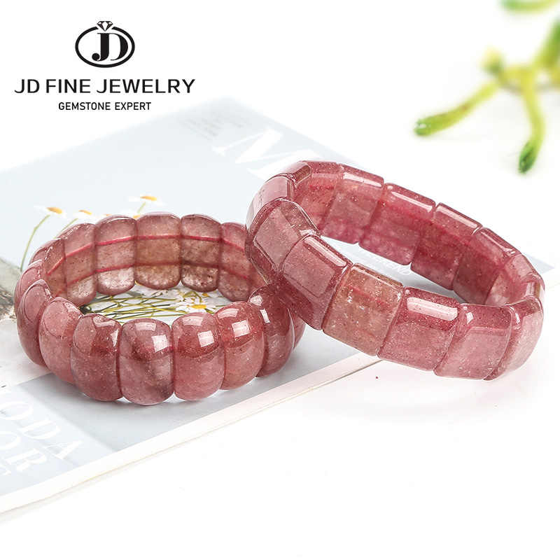 JD الوردي الفراولة الكوارتز الحجر الطبيعي الخرز أساور و أساور اليدوية سوار طاقة مجوهرات للنساء 2020 جديد