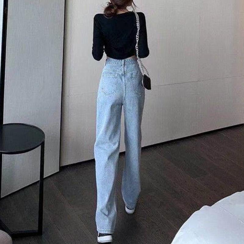 Woman Jeans High Waist Clothes Wide Leg Denim Clothing Blue Streetwear Vintage Quality 2021 Fashion Harajuku Straight Pants 3