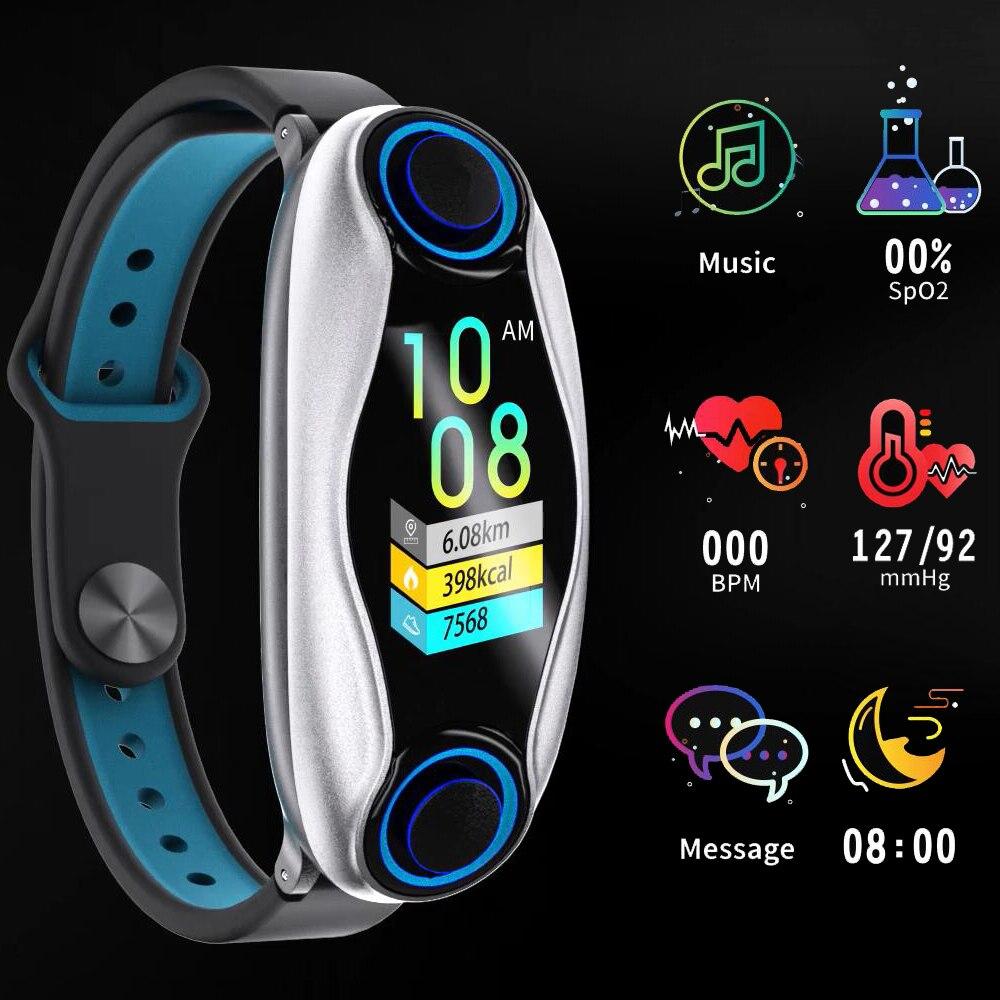 Wireless Headphones Double Bluetooth Earbud Earphone Answer Call Women Men Sports Tracker Fitness Bracelet Smart Wristband Watch