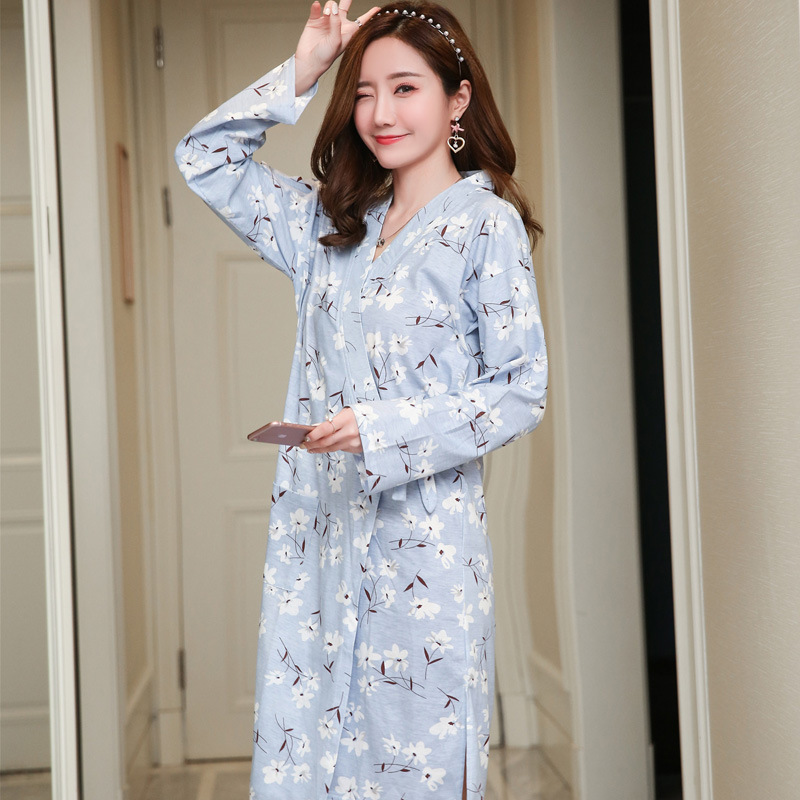Japanese Style Women's Kimono Long Sleeve Autumn & Winter Gauze Bathrobe And Wind Sexy Pajamas WOMEN'S Cardigan Long Robe Wholes