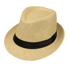 Children Kids Summer Beach Straw Hat Jazz Panama Trilby Fedora Hat Gangster Cap Outdoor Breathable Hats Girls Boys Sunhat D7YD(China)