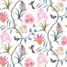 Home Decoration Self Adhesive Floral Bird Modern Pink Flower Wallpaper Living Room Bedroom Kitchen Bathroom Wall stickers