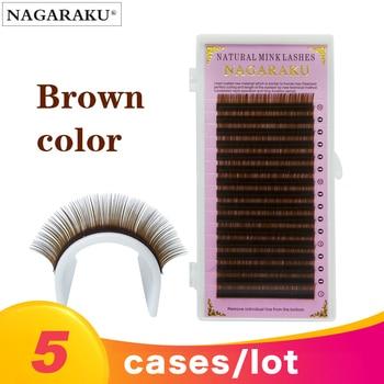 NAGARAKU 5 cases/lot Eyelash Extension Maquillaje Makeup Brown Color Individual Eyelash Mink Lashes Brown Maquiagem Cilios 1