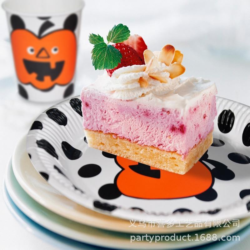 Cartoon Smiley Pumpkin Black Dots Paper Pallet Plate Halloween Party Adult Children Decoration Beverage Cup Set