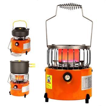 Estufa de Gas licuado portátil 2 en 1 estufa para hacer parrilla calentador de Gas para el exterior estufa de Camping 2000W pequeña y conveniente