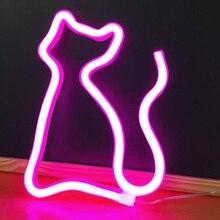Светодиодный неоновый декор в виде животных, Настенный декор, 5 в постоянного тока, USB или на батарейках, ночные светильники, художественный декор, настенные украшения, настольные светильники