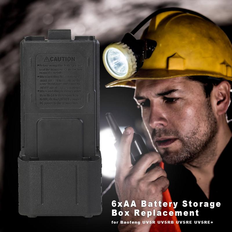 6xAA Battery Extended Storage Box Wear-resistant Carry Case Walkie Talkie Accessories For Baofeng UV5R UV5RB UV5RE UV5RE+