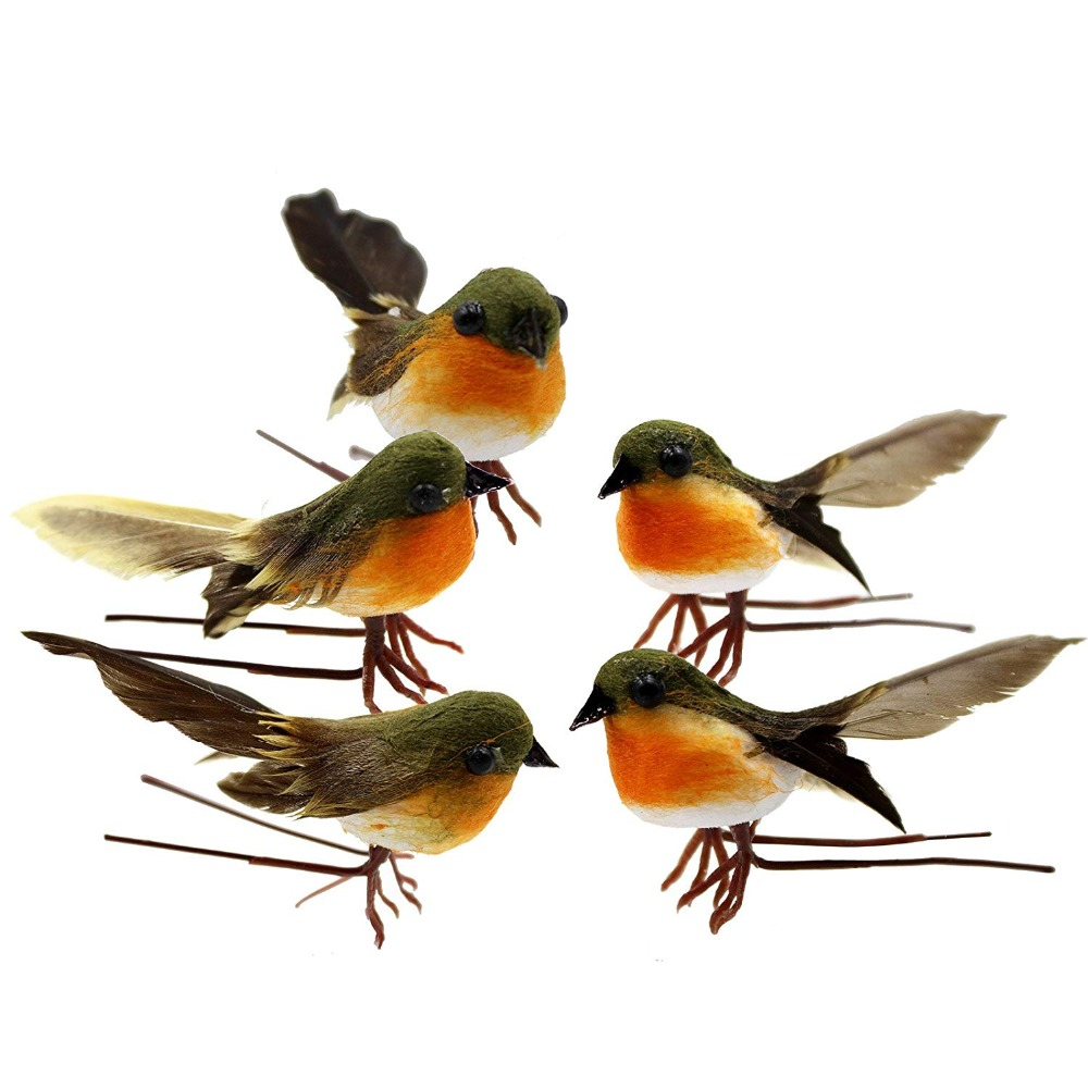 10PCS Robin Bird Christmas Tree Decoration Craft Artificial Feather Christmas Tree Merry Christmas Ornaments Garden Decoration