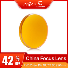 "Cloudray China CO2 Znse Focus Lens Dia.18 19.05 20 Mm FL38.1 50.8 63.5 101.6 127Mm 1.5   4 ""voor Laser Snijmachine Graveren"