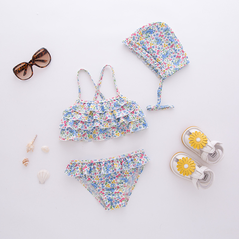 Short In Size Processing Girls' Two-piece Swimsuit Blue Camisole Small Floral With Hat-Children Hot Springs Tour Bathing Suit