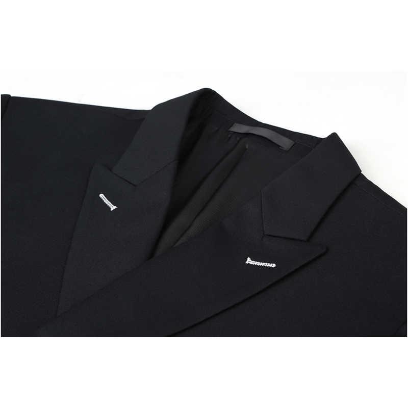 Shenrun hommes costumes coupe ajustée nouveau Costume de mode Double boutonnage pic revers bleu marine noir mariage marié fête bal maigre Costume
