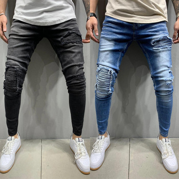 Men's Ripped Skinny Jeans Denim Pencil Pants 2020 Streetwear Destroyed Frayed Stretch Biker Jean Mens Pleated Hip Hop Trousers stretch ripped cropped pants men 2020 brand new mens destroyed skinny denim trousers foot zipper hip hop pencil jeans for men