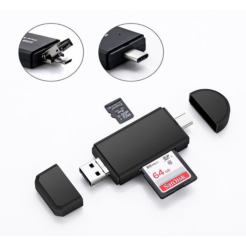 3 In1 Type-C /micro USB/USB USB2.0 Universal OTG High-speed Card Reader, SD IF Card Connecting Adapter Reader For Android Phone