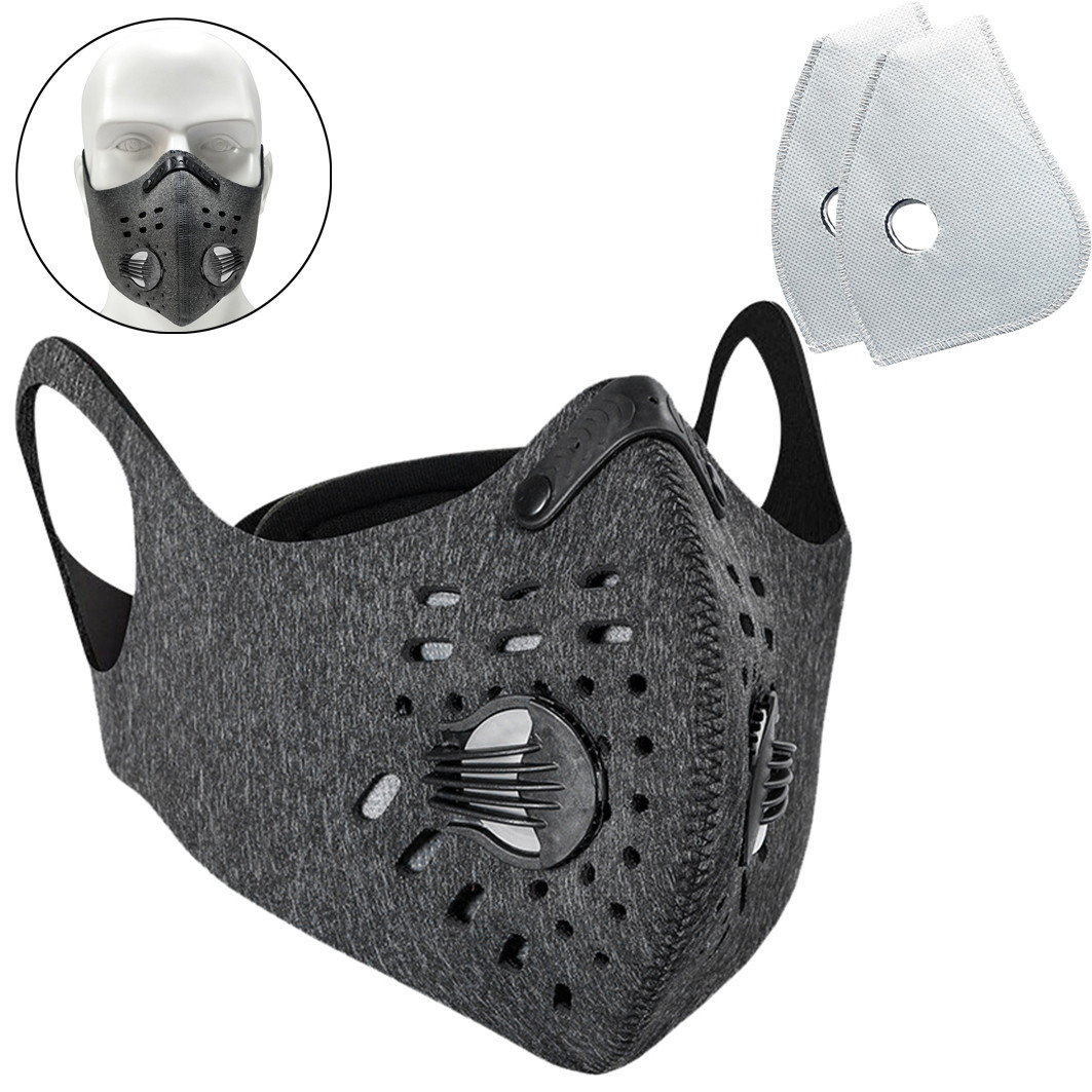 Unisex Reusable Face Mask With 2PCS Filter Anti Pollution PM2.5 Mouth Face Mask Dust Respirator Washable Safety Face Mask