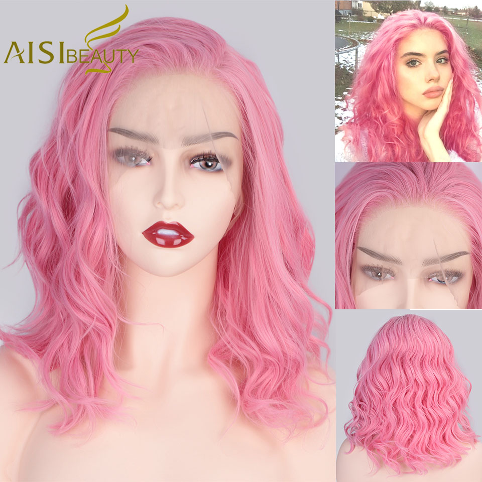 AISIBEAUTY Pink Wig Synthetic Lace Front Wigs Short Wavy Wig For Women Black/Blonde Cosplay Wig Free Part High Resistant Hair