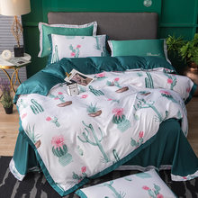 18 Colors Flowers Series Washed Silk and Cotton Fabric 4pc Luxurious Bedding set Queen King Size Lace Duvet/Blanketcover Set(China)