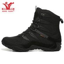 XIANG GUAN Hiking Shoes Men Waterproof Long Wool Plush Warm Climbing Mountain Sn