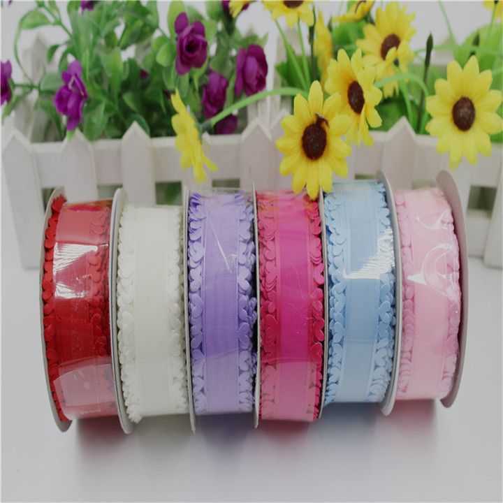 1  25mm20Yard Heart Shaped Lace Snow Yarn Ribbons For Diy Bow Hair Accessories Gift Wrap Belt Satin Ribbons Lace Ribbon