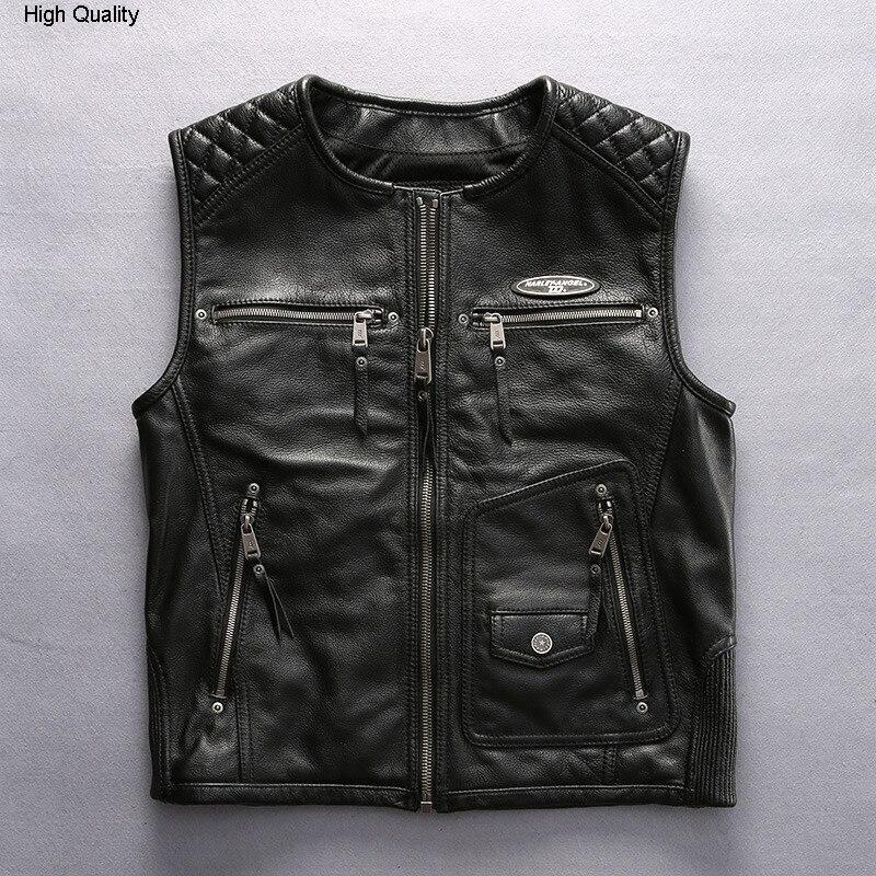 2020 Men's Motorcycle Leather Vest Fashion Brand Slim Fit Sleeveless Cow Leather Jacket Men Zipper O-neck Biker Vest Male